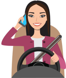 asian woman driving a car talking on the phone. Vector cartoon character